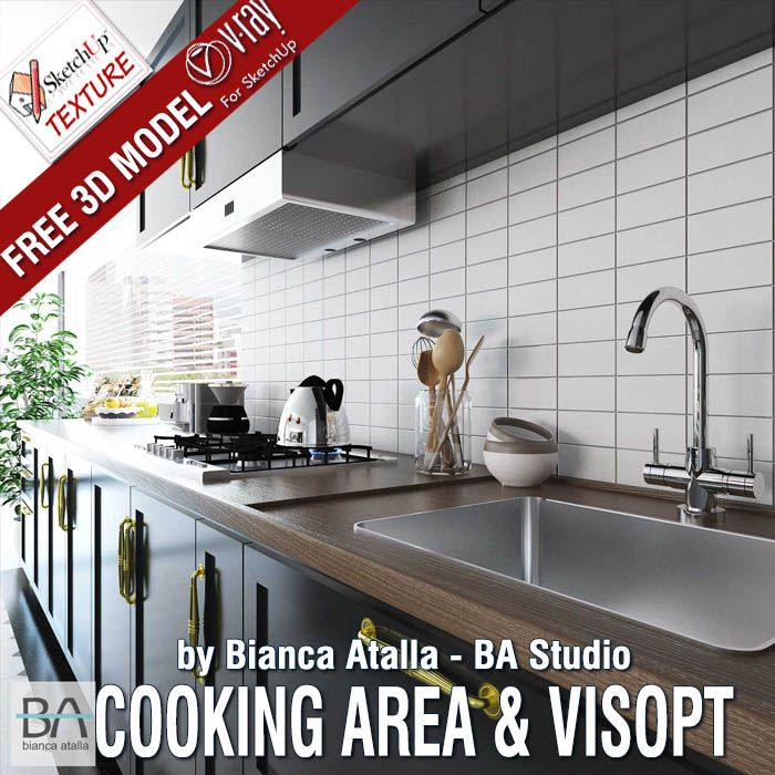 "AWESOME Free #Sketchup Model "" COOKING AREA "" And #vray"