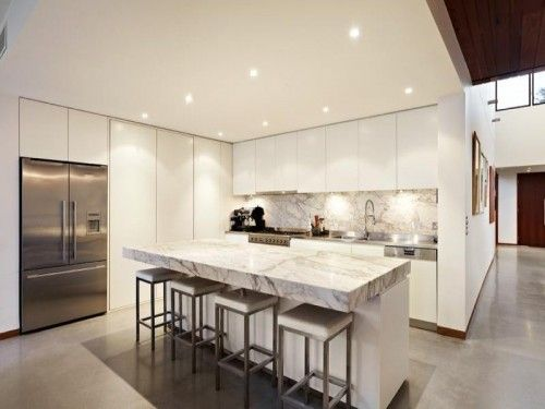 Fridge and pantry option vs sliding door pinned previously. ? ?Inspiration+:+10+Beautiful+Kitchens