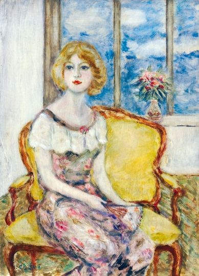 Csók, István (1865-1961) Young lady with fan