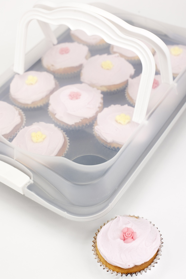 Couldn't help join the cupcake making brigade... but they're tricky to transport to a party or picnic.  UNTIL this nifty gadget - cook them in the base, ice them when cool, pop on the handled top - voila!  Its a Wiltshire Bake 'n' Carry... and that's what I do!