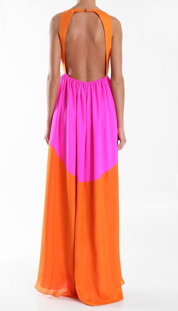 tibi long silk dress. open back. pink, orange