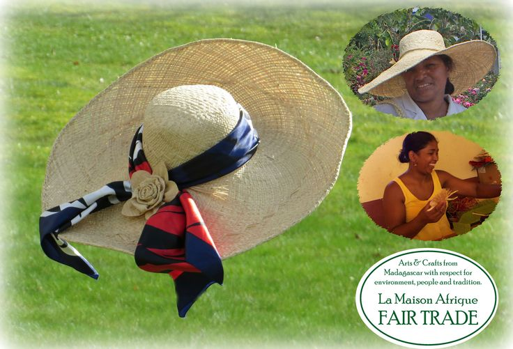 Fair Trade broad-brimmed hat handcrafted of sundried, naturewhite raffia palm leaves. Rose handcrafted of the same material. The women artisans making the hat and the rose on photos to the right. #fairtrade #FashionRevolution
