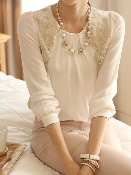 Ruffle Long Sleeve Lace Blouse ihana pitsi idea