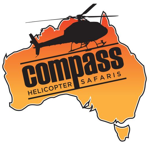 Compass Helicopter Safaris Australia - LOGO Map of Australia featured in the classic Australian Orange with Black logo stamped featuring Helicopter.