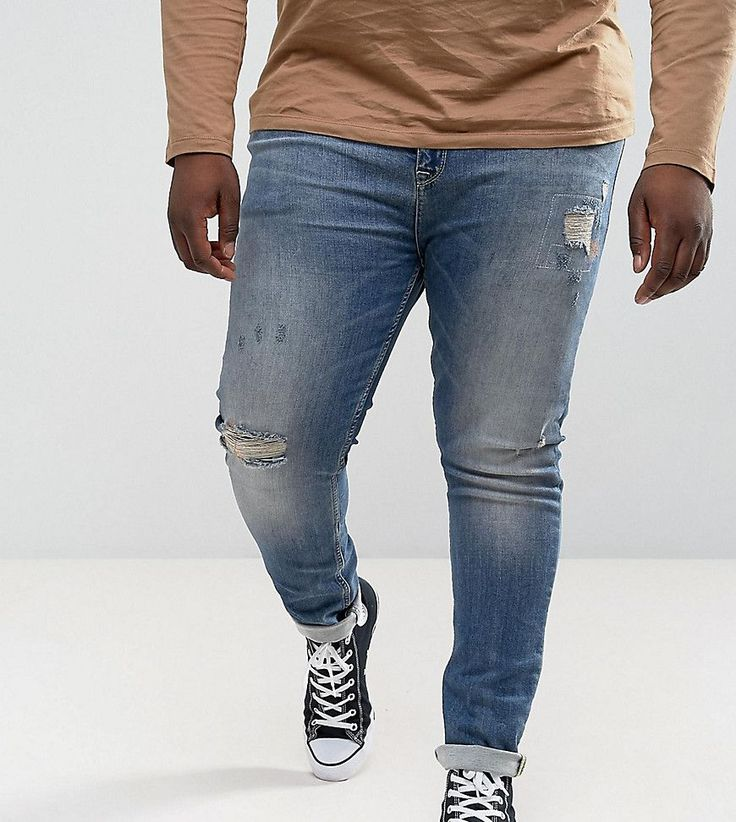 ASOS PLUS Super Skinny Jeans In Mid Blue With Rip And Repair - Blue