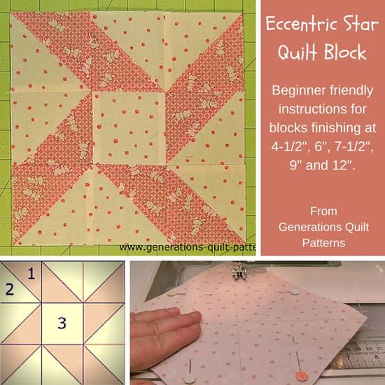 "Eccentric Star quilt block pattern. Instructions for 4-1/2"", 6"", 9"" and 12"" finished blocks."