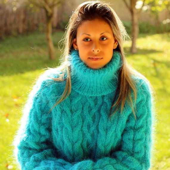 Hand Knit Mohair Sweater Cable Turquoise Fuzzy by EXTRAVAGANTZA