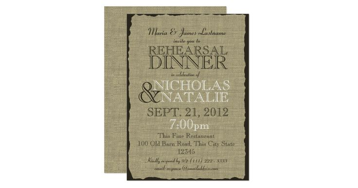 Rustic country rehearsal dinner invitation with the look of burlap and dark brown text.
