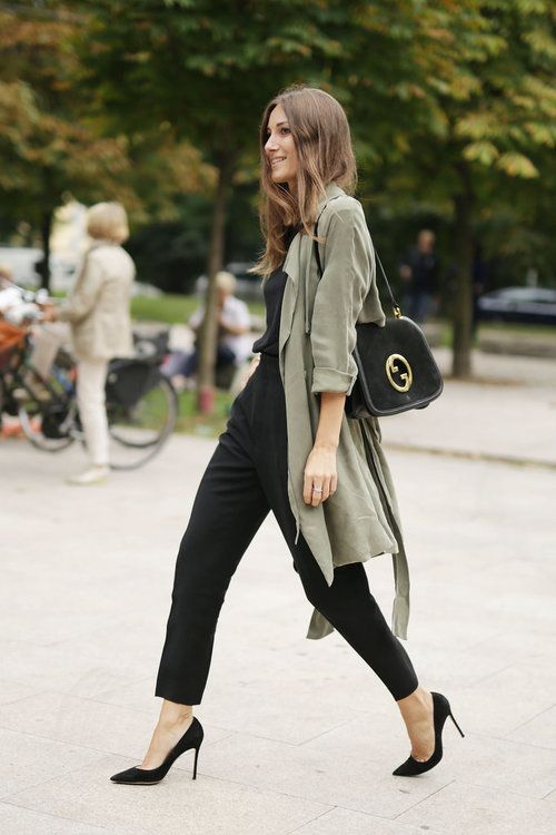Break up a chic all black outfit with a khaki draped trench / the love assembly