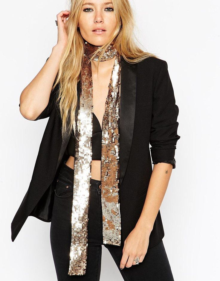 Skinny Scarves are Trending for Spring 2015 - ASOS Sequin Ultra Skinny Scarf, $25; at ASOS