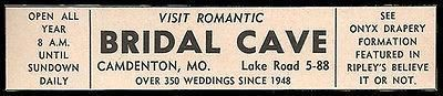Bridal Cave Ad Camdenton Missouri Romantic Weddings 1964 Roadside Ad Travel