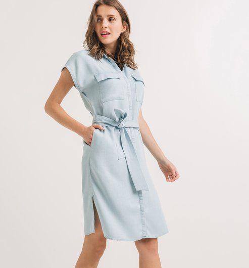 Koszulowa sukienka jasny jeans - Promod