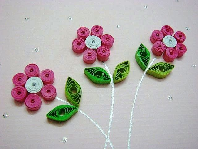 Easy quilling for kids pink and green paper flower art pink easy quilling for kids pink and green paper flower art pink green everything pinterest quilling green paper and easy mightylinksfo