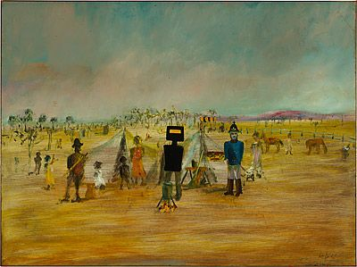 'Bush Picnic' by Sidney Nolan, 1946. Enamel paint on composition board. Many of this first 'Kelly' series were painted on the kitchen table at Heide. (Now Heide Museum of Modern Art in Melbourne.) www.melbournemodernist.com