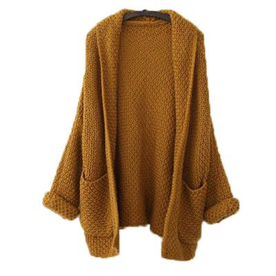 Buenos Ninos 2016 Solid Camel Batwing Sleeve Knitted Sweaters Women Autumn Basic Oversize Cardigan Sweaters 40