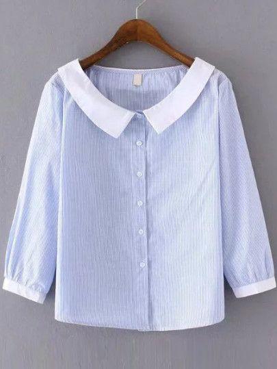 Blue Stripe Contrast Collar Blouse