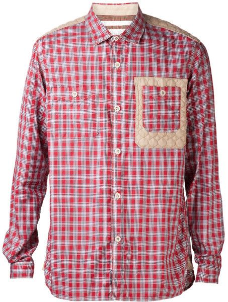 White Mountaineering Red Plaid Pattern Shirt