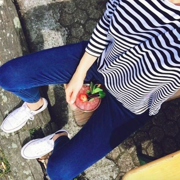It's OK to have a Strawberry Margherita in the middle of the day  WARNING! Our Black/White Longseeve will be back this week!  theodderside.com #ootd #outfit #lessismore #simple #fashion #converse #love #drink #sunday #chill #easy #travel | Everything basic @ theodderside.com