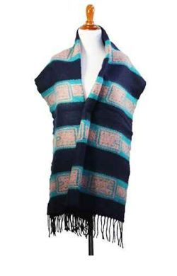 BOUTIQUE SCARF Blue & Grey Striped Classic Scarf with Tassles! Thick, Cozy Material.