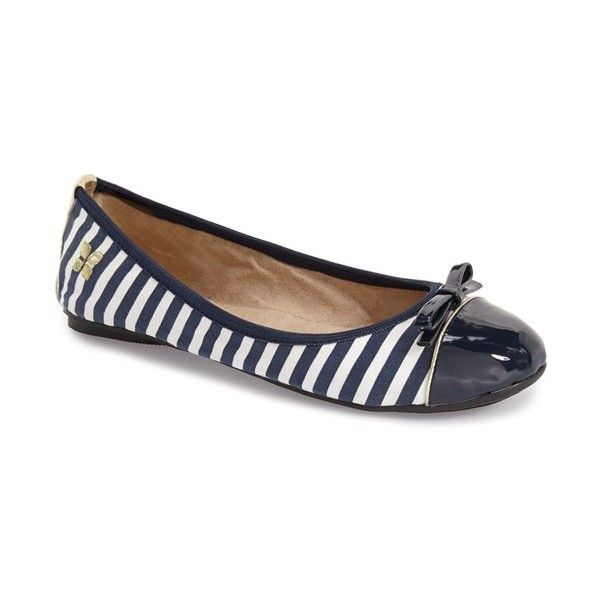 Butterfly Twists 'Cara' Foldable Stripe Ballet Flat ($45) ❤ liked on Polyvore featuring shoes, flats, ballerina pumps, bow ballet flats, striped flats, bow shoes and striped ballet flats
