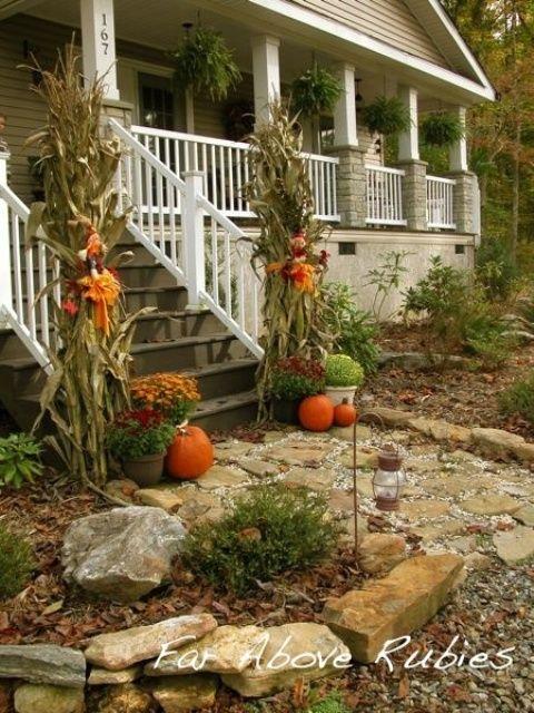60 Amazing Autumn Porch Décor Ideas : 60 Pretty Autumn Porch Décor Ideas With White Wooden Walls Stairs Window Door Lamp Brick Outdoor Floor Pumpkin Ornament