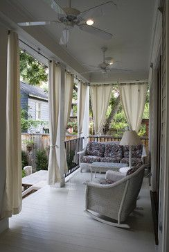 Covered Patio. LOVE THE DRAPES: I Am Going To Use Screen To Make Front