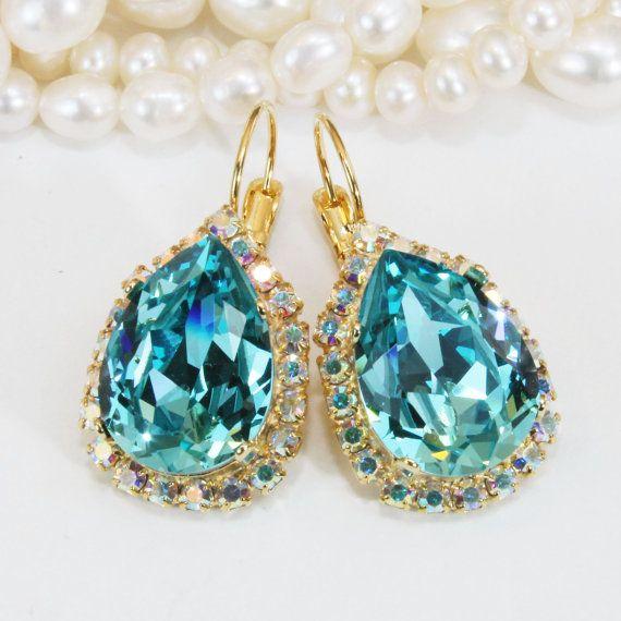 Aqua Bridal Teardrop Earrings Blue Swarovski AB Halo Crystal Pear Shape Drop Bridesmaids Earrings Aqua Wedding,Gold,Light Turquoise,GE101