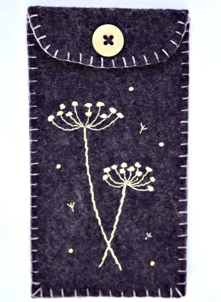 Felt phone case, i pod, gadget cover. Seedheads, grape purple.. $ 21.00, via Etsy.