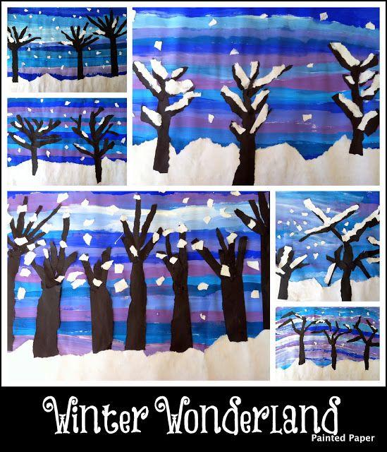 Winterlandschap met verf en papier