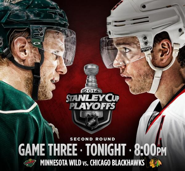Wild vs Hawks.  Game 3 Round 2 of the Stanley Cup Playoffs tonight.