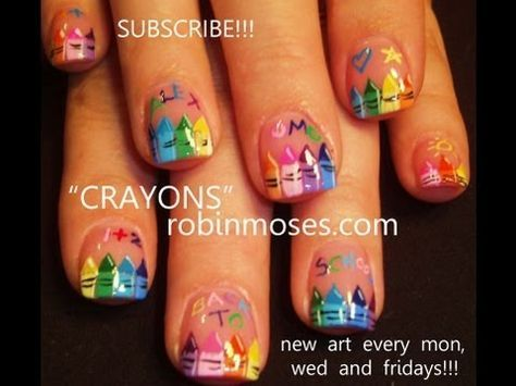 Crayola style nails... love this for teacher nails :)