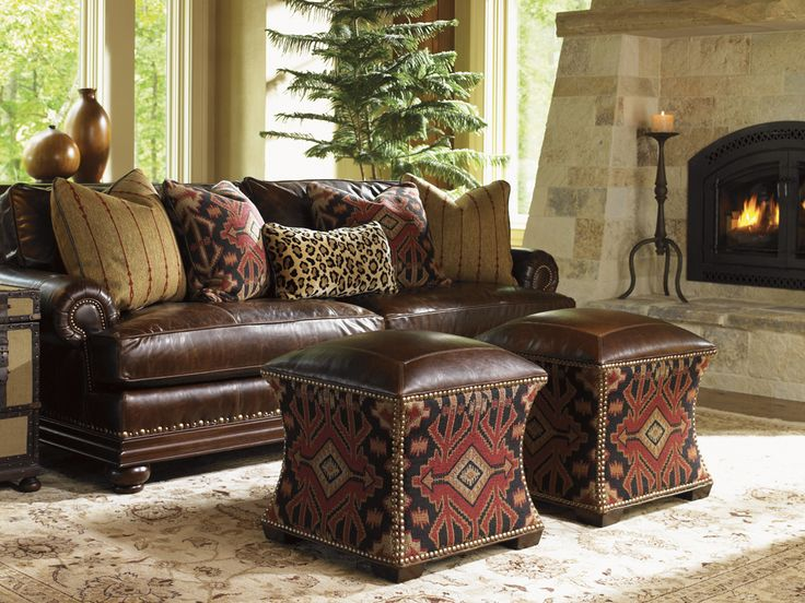 Nice Fieldale Lodge, Eclipse Leather Ottoman   Lexington Home Brands