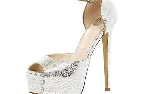 Scene 2 Outfit 3: outfit 2 Gold Metallic Peep Toe Platform Shoes from River Island £55