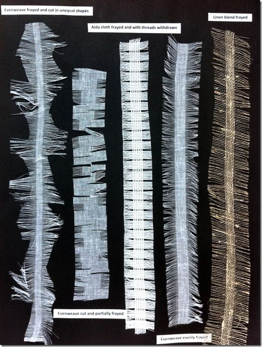 Fabric Manipulation samples - edge experiments with frayed and snipped fabrics with threads withdrawn; textile techniques // Daniela Maschera