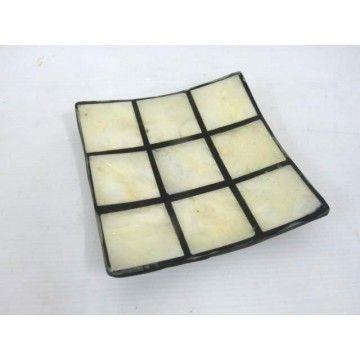 Pearl Shell dish in Black Resin 13sq cm