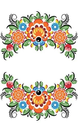 Folk Gorodets painting from Russia. Floral pattern. #Russian #folk #art #painting