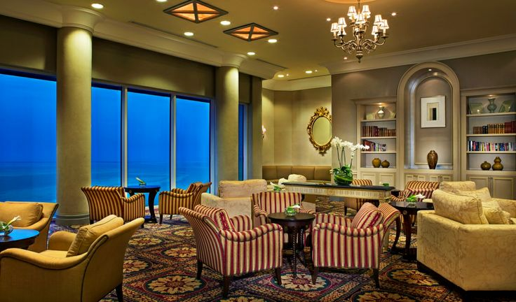 The Ritz-Carlton, Doha club lounge includes a magnificent view of the Gulf.