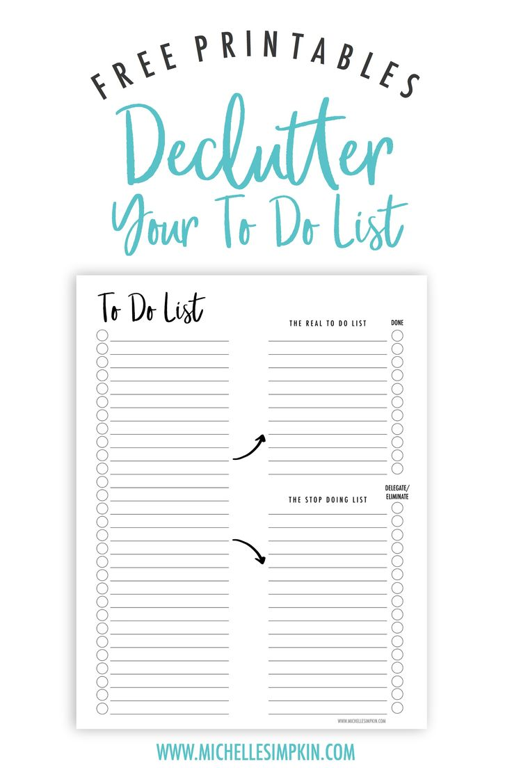 Free Printable! This To Do List will help you sort through all of those to dos floating around in your head. Figure out which ones can stay and which ones need to hit the road. Free Printables | To Do List | Decluttering | Printable To Do List #freeprintables #todolist #decluttering www.michellesimpkin.com/join