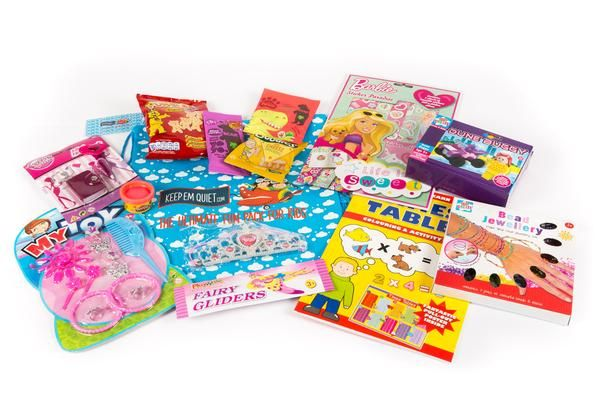 Fun entertaining travel packs for flights, long car, train or boat journeys. Perfect to keep your child entertained when they need toys games or healthy snacks