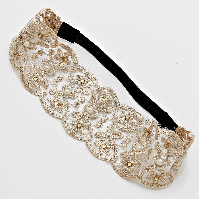 Embroidered Gold Lace Headband on Emma Stine Limited