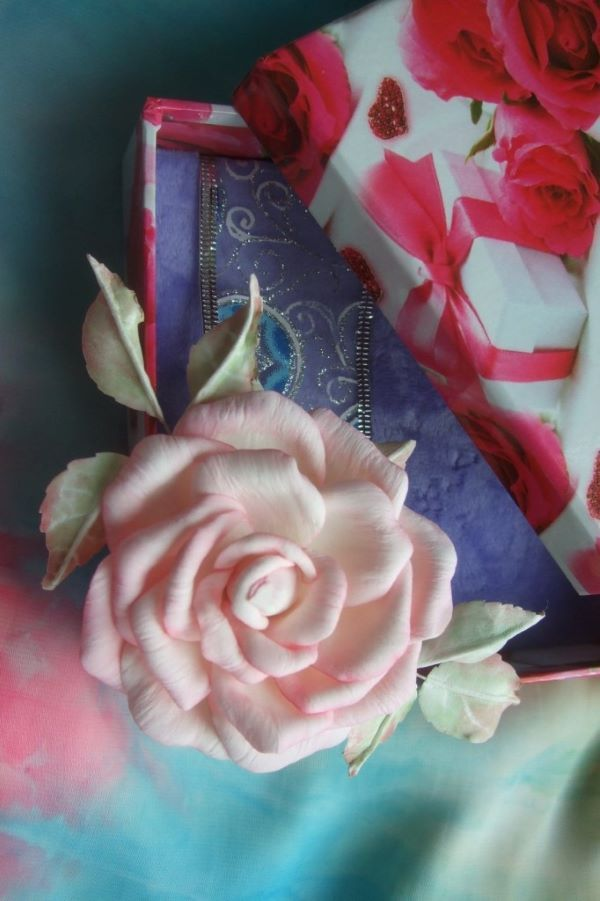 Brooch-rose barrette handmade to attire or hairstyles brides, bridesmaids. Romantic accent.