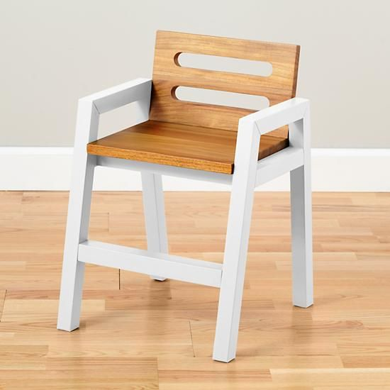 Two-Tone Teak Play Chair (White)  | The Land of Nod
