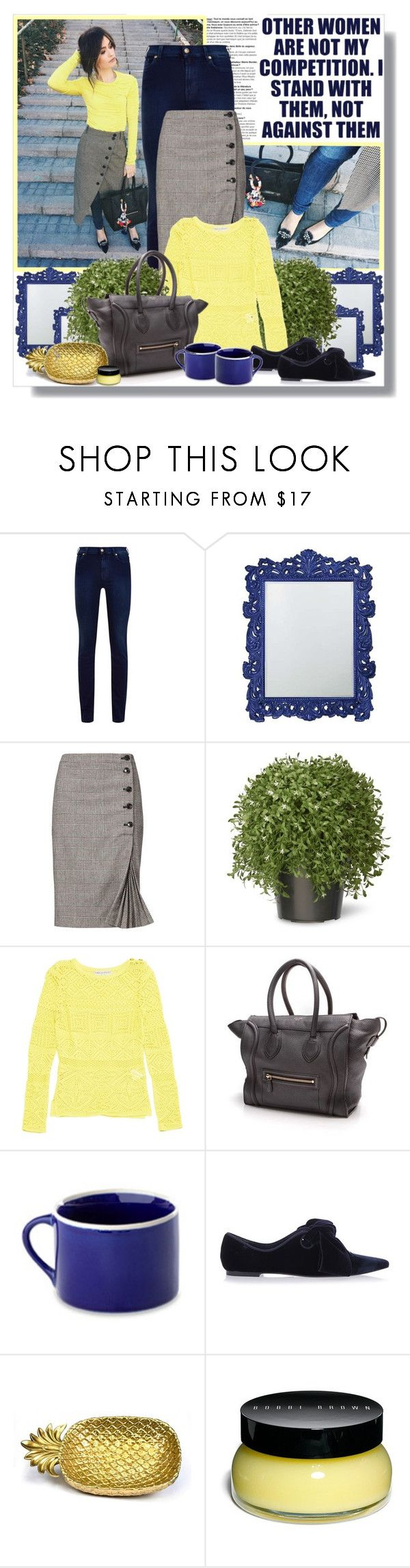 """""""Denim Lemonade."""" by peony-and-python ❤ liked on Polyvore featuring 7 For All Mankind, Howard Elliott, Banana Republic, National Tree Company, Emilio Pucci, CÉLINE, Peter Hall & Son, Tory Burch, Bobbi Brown Cosmetics and StreetStyle"""