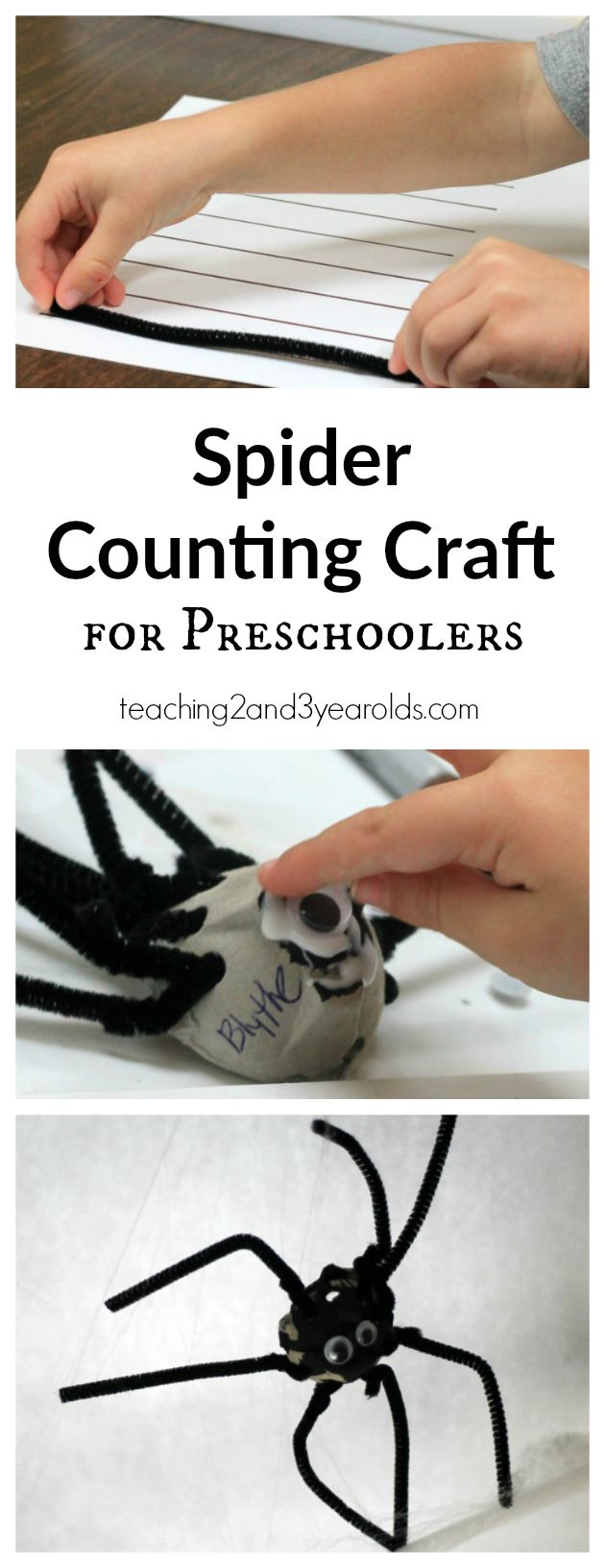 Spider Counting Craft for Preschoolers - A fun way to work on simple math skills at the art table - Teaching 2 and 3 Year Olds