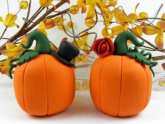 Fall Theme Pumpkin Wedding Cake Topper Polymer Clay. $55.00, via Etsy.