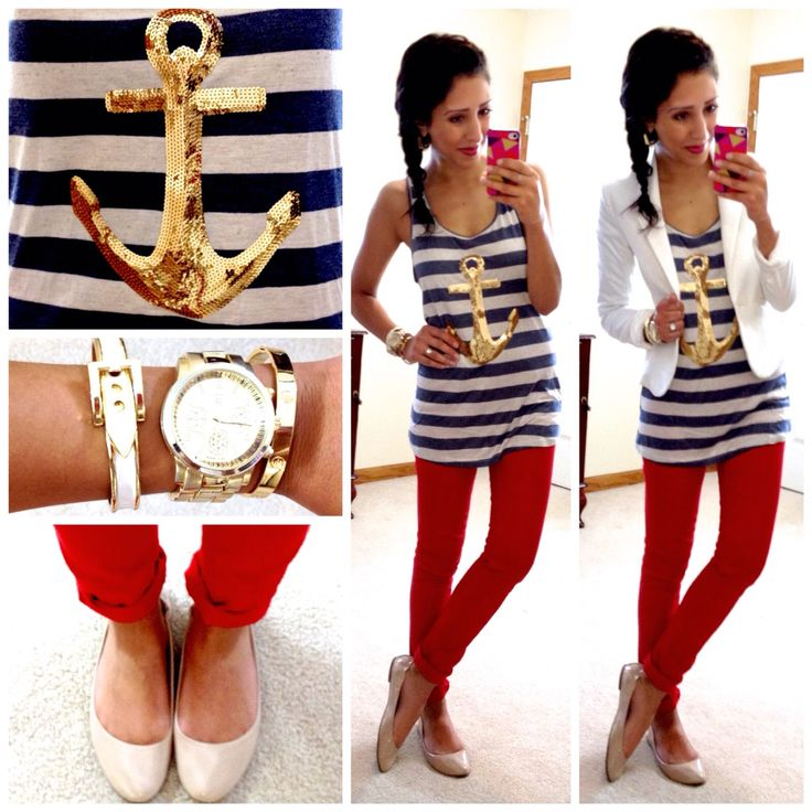 Cute casual nautical business look.red skinny pants,cute striped anchor top,white blazer and nude flats.adorable