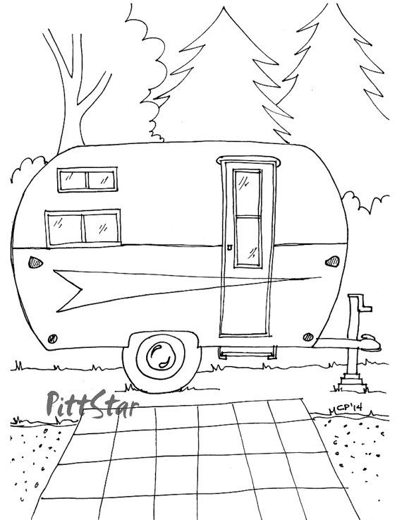 rv coloring pages - camper trailer outline with popular trend