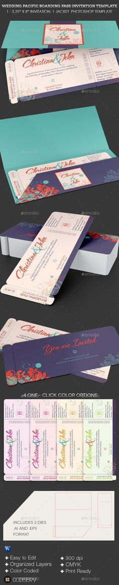 Wedding Pacific Boarding Pass Invitation Template - Weddings Cards & Invites
