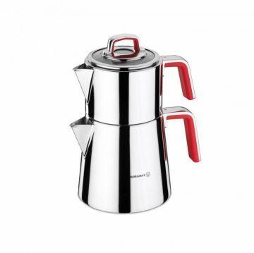 Korkmaz A081-01 Vertex Çaydanlık Takımı kırmızı