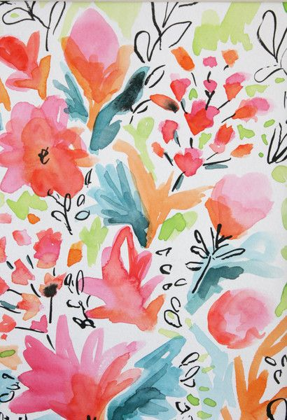 Floral print. Painterly. Watercolour. Expressive. Modern. Flowers